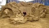 David Ducharme and the Nativity Scene, sculpted for the Sultans of Sand, Jesolo, Italy, 2011